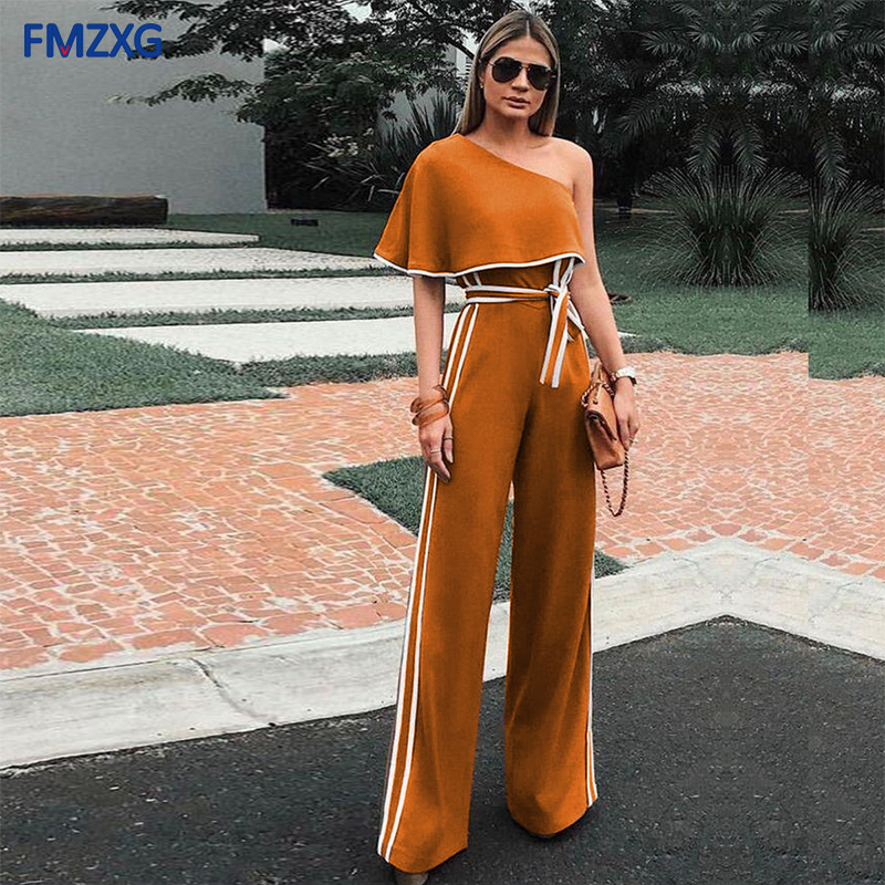 Celebrity Women One Off Shoulder Casual Jumpsuits Wide Leg Pants Summer Elegant   Rompers   Womens Jumpsuit Party Overalls Female OL