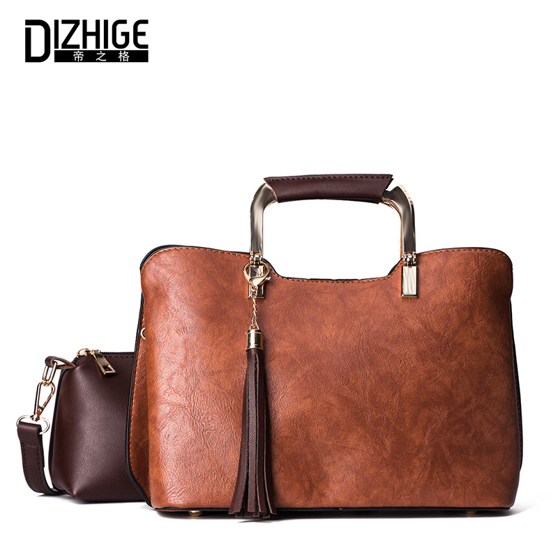 DIZHIGE Women Shoulder Bag 2 Set/Pcs PU Leather Handbag Female Solid Tassel Crossbody Messenger Bags High Quality Ladies Handbag women messenger bag solid tassel vintage handbag pu leather for teenage girls shoulder crossbody bags black female 2017 xa1125h