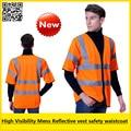 High visibility short sleeve vest reflective safety vest reflective workwear safety waistcoat free shipping