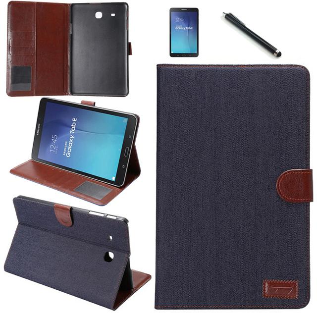 Caneta + filme + 2016 moda denim slot para cartão wallet caso capa de couro pu para samsung galaxy tab e sm-t560 t561 sacos caso de luxo