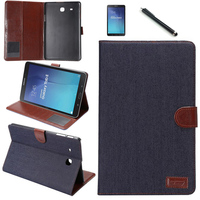 Pen Film 2015 Fashion Denim Card Slot Wallet Cover Case For Samsung Galaxy Tab E SM