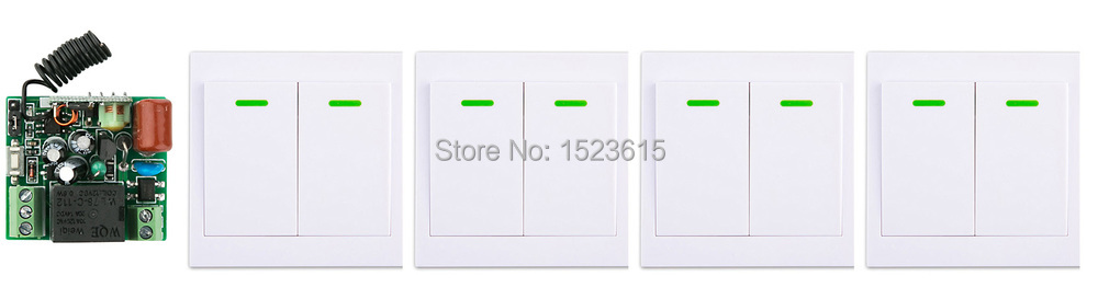 New AC220V 1CH Wireless Remote Control Switch System Receiver +4*Wall Panel Remote Transmitter Sticky Remote Smart Home Switch ac 220 v 1ch wireless remote control switch system receiver wall panel remote transmitter sticky remote smart home switch