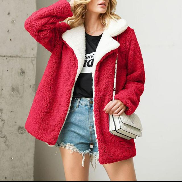 AYES Artificial Fur Outwear Warm Long Sleeve Zipper Jackets Ladies Coats with Pockets