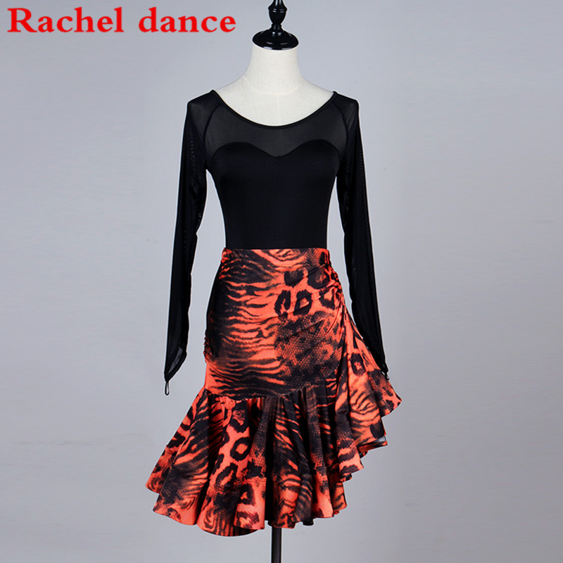 Veste manches longues robe de danse latine frange robes de danse de salon Costume de danse latine robes de danse latine jupes de Tango Samba