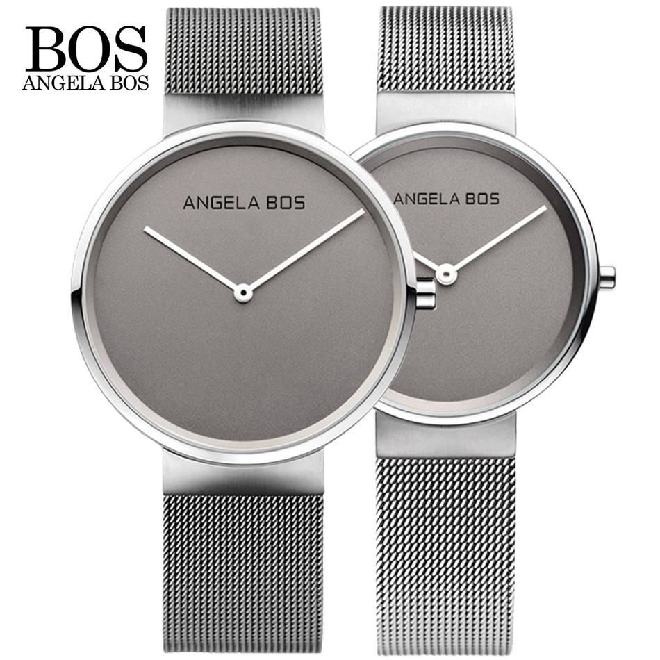 New Top Brand BOS Business Watch Men Luxury Ultra Thin Simple Quartz Watches Women Fashion Stainless Steel Wristwatches Hot Gift