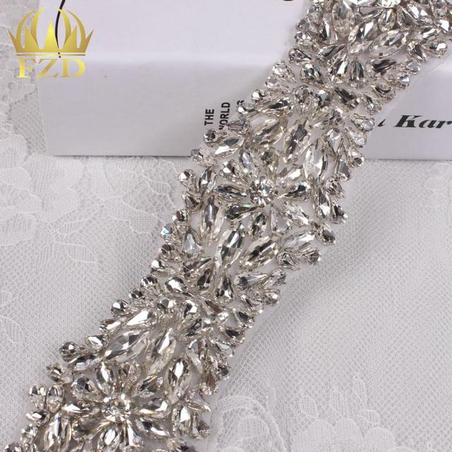 (10yards) Wholesale Sewing On Beaded Hot Fix Bling Crystal Clear Rhinestone  Sash and Belts Bridal Applique By the Yard 28f0c57fd890