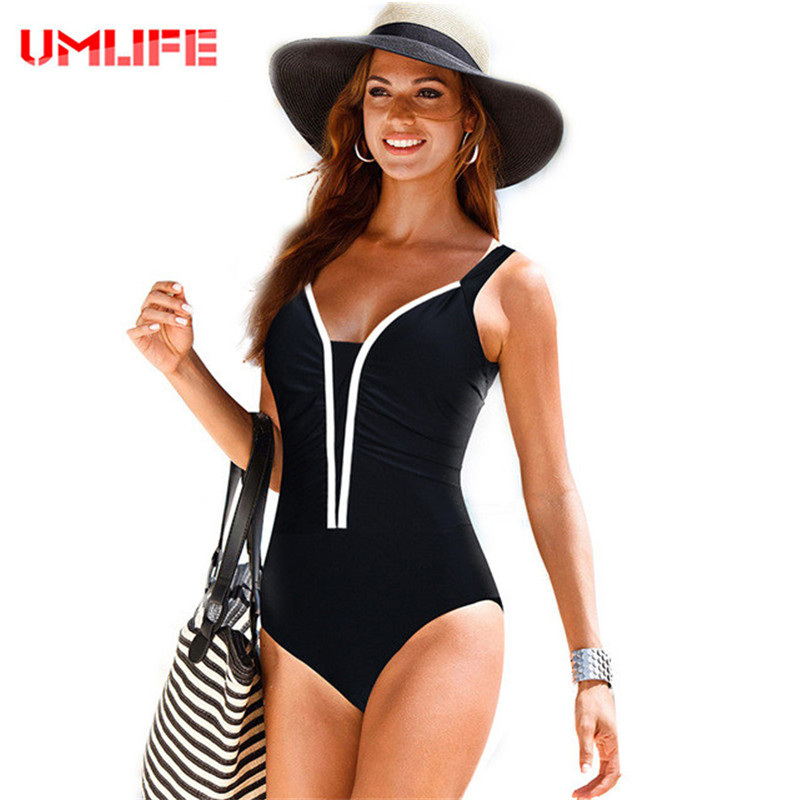 4XL Plus Size Retro One Piece Swimsuit Swimwear Women Female 2017 Vintage Large Size Black Bathing Suit Swimming Beachwear women one piece swimsuit cover up swimwear large size skirt swimming beachwear drape bathing suit 2017 plus size dress