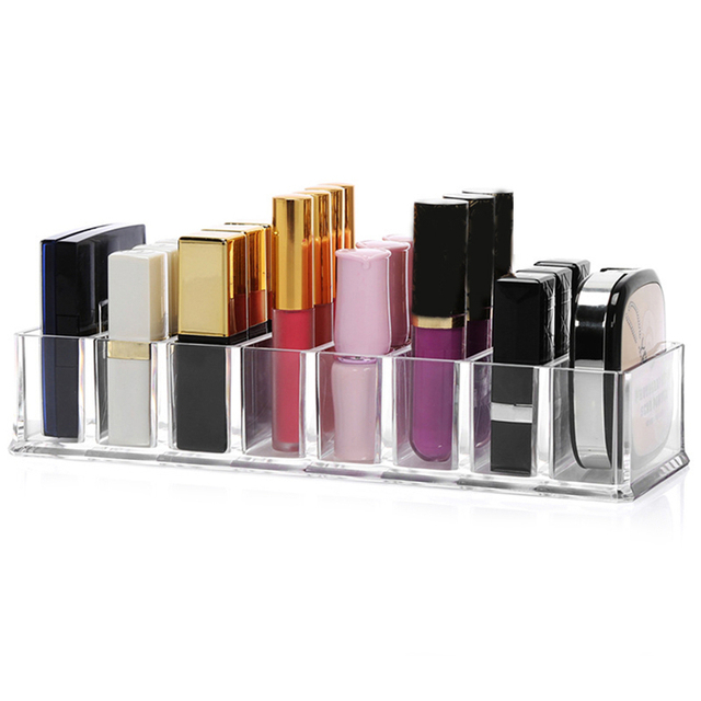 8 compartiments transparent cristal acrylique organisateur cosm tique maquillage bo te de. Black Bedroom Furniture Sets. Home Design Ideas