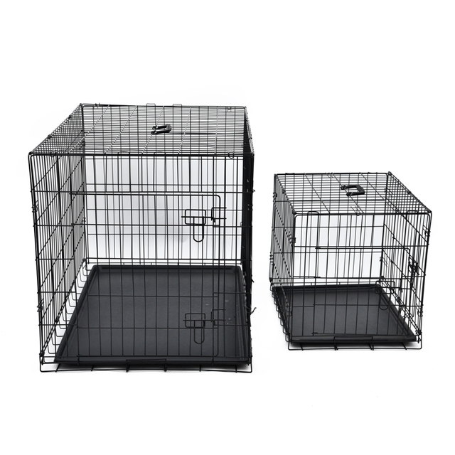 PAWZRoad Domestic Delivery Pet Dog Cage Crate Double-Door Pet Kennel Collapsible Easy Install Fit Your Pets 5 Sizes Pet House 1