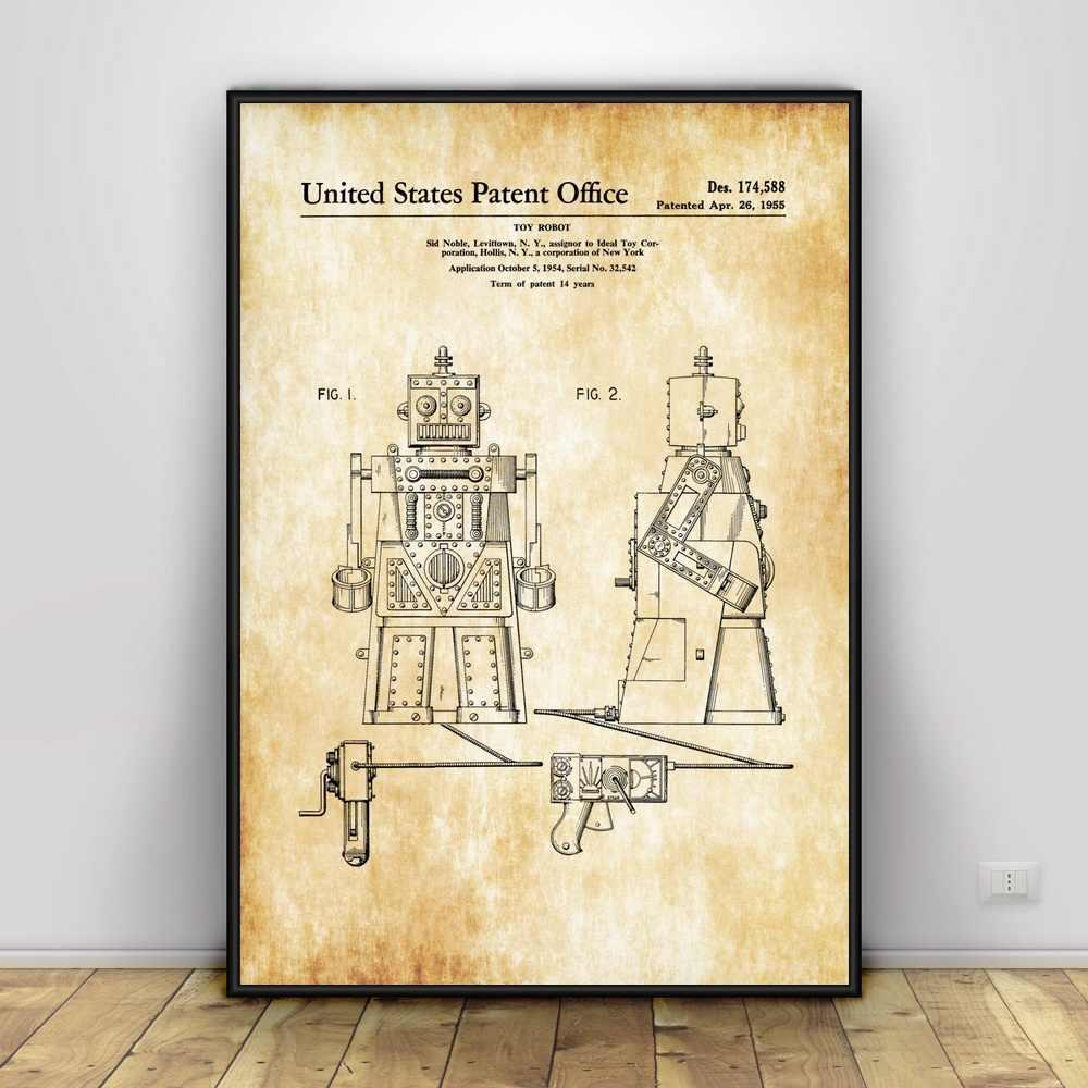Diseño de Robot mecánico de escritura de ciencia ficción arte de seda póster decoración del hogar 12x18 24x36 pulgadas
