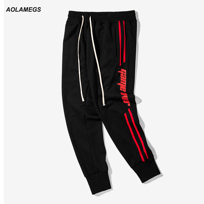 Aolamegs Mens casual pants spliced color side stripes men track pants street fashion vintage sweatpants drawstring jogger pants ...