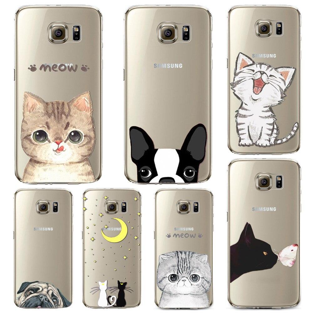 Чехол для телефона Samsung Galaxy S6 S6Edge Мягкие TPU кремния Прозрачный Тонкий чехол милый кот собака Животные кожи В виде ракушки