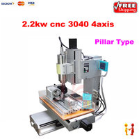 High precision 4 Axis CNC 3040 2200W CNC machinery metal cutting machine 110v 220v with water tank,Pillar type