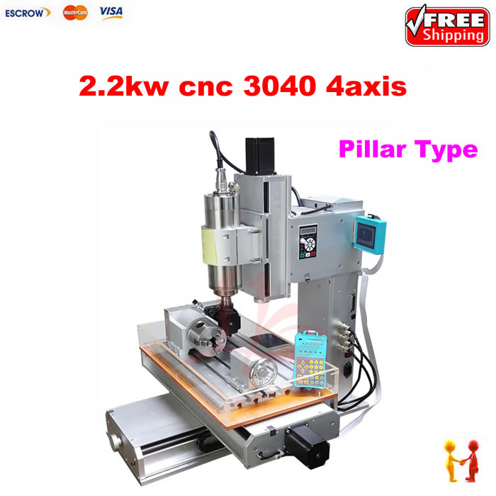 High precision 4 Axis CNC 3040 2200W CNC machinery metal cutting machine 110v 220v with water tank,Pillar type cnc 3040 cnc router cnc machine 3 4 5 axis mini engraving machine woodworking tools diy hy 3040 high quality metal acrylic