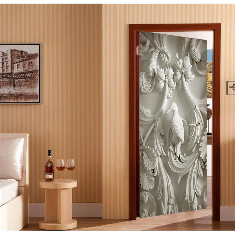 Door wallpaper embossed bird branches murals wallpaper for Door mural wallpaper