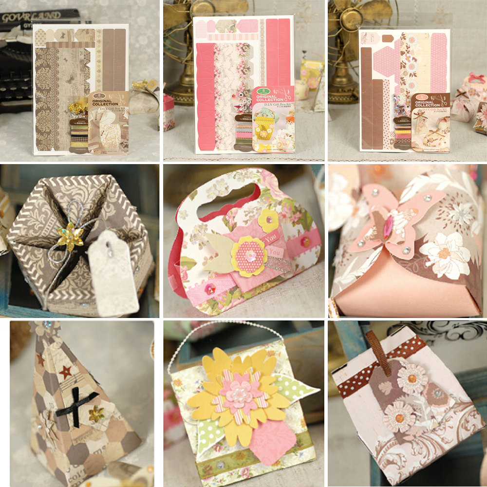 Creative DIY Paper Box Kit For Kids Gift Wedding Birthday Favors 8 Shapes Origami Paper Small