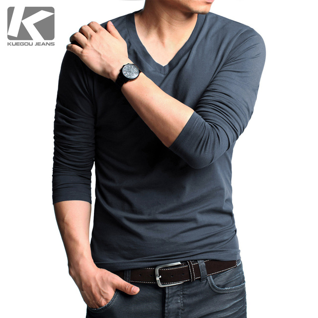 Male male T-shirt long-sleeve casual t-shirt slim V-neck men's clothing long-sleeve basic shirt male