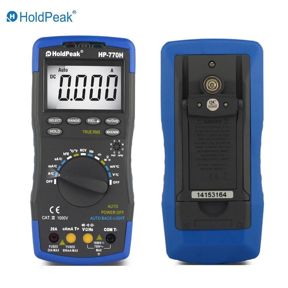 Multimetro HoldPeak HP-770H LCD Digital Multimeter Voltmeter Ohmmeter Ammeter Capacitance Tester Digital multimeter victor vc9807a ac dc ammeter voltmeter ohmmeter digital multimeter multimetro conductivity capacitance frequency tester bag
