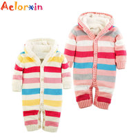2016 Aelorxin Winter Newborn Baby Romper Boys Girls Rompers Jumpsuit Warm Thick Knitted Sweater Hooded Outwear