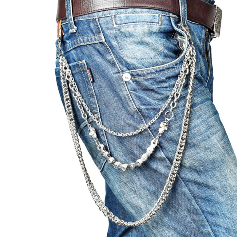 Hot New 1 Pc Punk Pants Chains Fashion Rock Jeans Waist   Belt   Chain Accessories Men Hip Hop Skull Pendant Decoration
