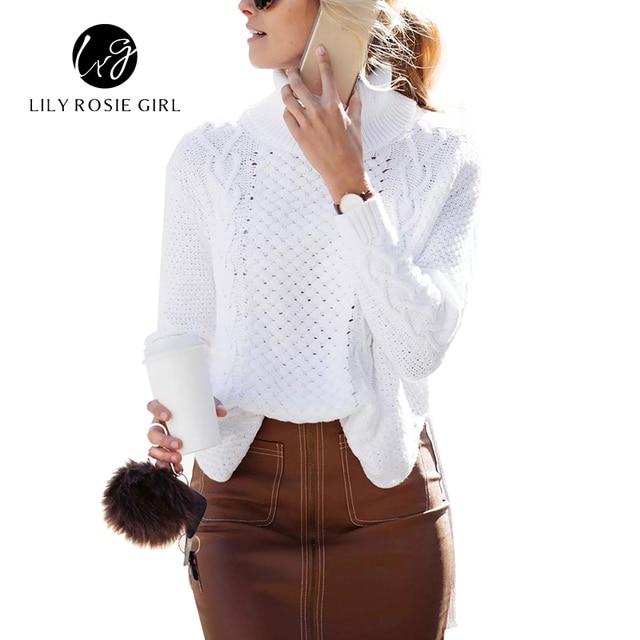 1de3dfc23dc 2016 Split turtleneck Twist Knitted Sweater Women Casual Loose White Jumpers  Pull Femme Autumn Winter Long