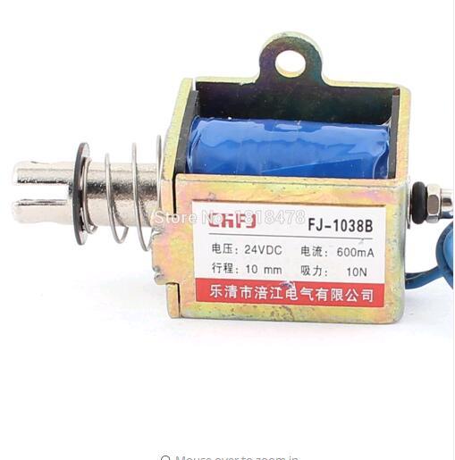 FJ-1038 Push Pull Type DIY DC Electromagnet Magnet Solenoid 10mm 10N DC 24V 0.6A