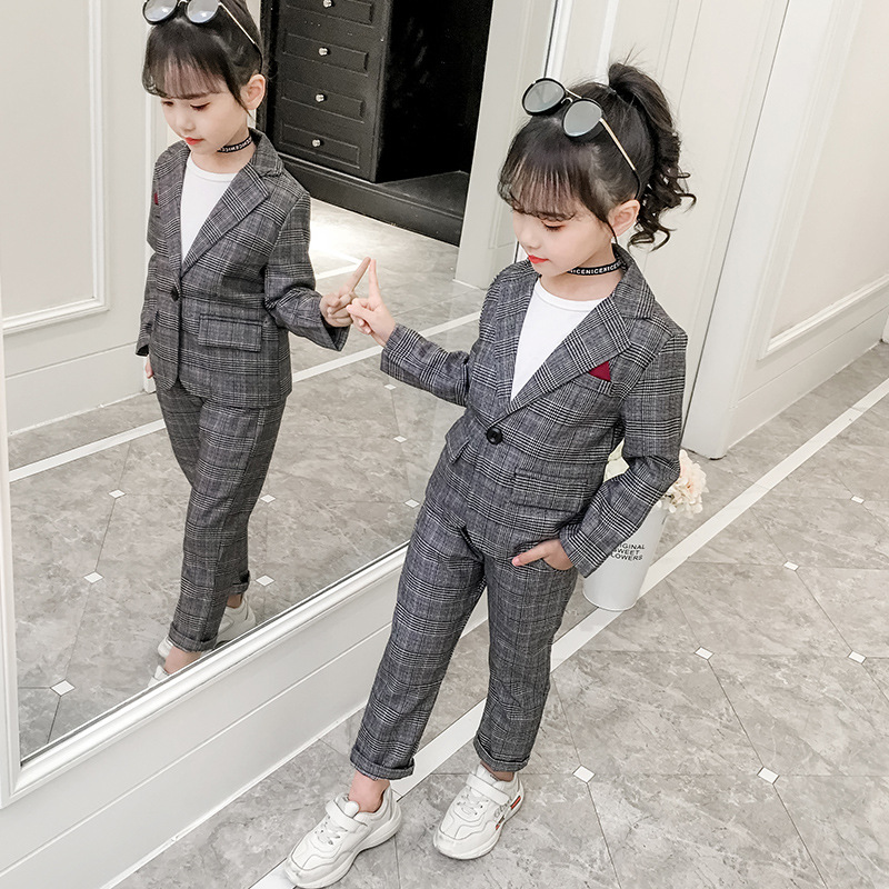 Teenage Girls Clothing Set Spring Fashion Plaid Jackets +Pants Tracksuit School Uniform Girls Clothes Children Clothes 8 10 Year(China)