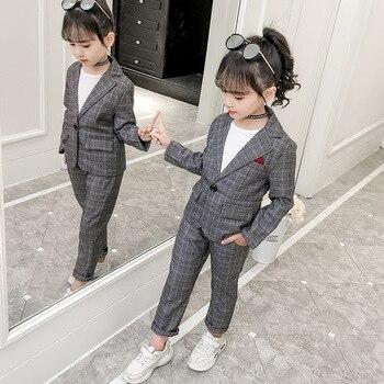 476bdeeca Conjunto de ropa para niñas adolescentes primavera moda chaquetas a cuadros  + Pantalones chándal uniforme escolar Niñas Ropa niños ropa 8 10 años