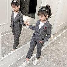 Meninas adolescentes conjunto de roupas outono xadrez terno para meninas jaquetas calças treino escolar meninos roupas crianças 8 10 anos