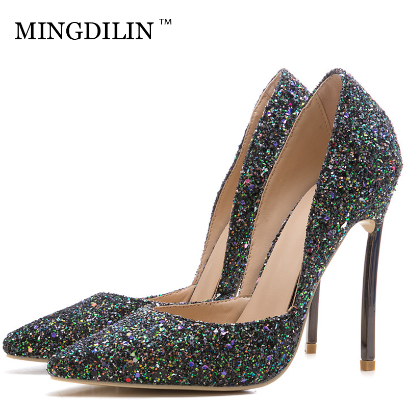 MINGDILIN Sexy Women's High Heels Shoes Silver Pink Party Woman Heel Shoes Plus Size 33 43 Pointed Toe Wedding Pumps Stiletto mingdilin sexy women s heel shoes high heels shoes woman pumps plus size 33 43 pointed toe ping red wedding party pumps stiletto