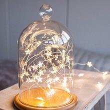 2 м/3 м светодиодный гирлянда на медной проволоке со звездами светодиодный Сказочный свет Рождественские Свадебные декоративные огни батарея работает мерцающие огни