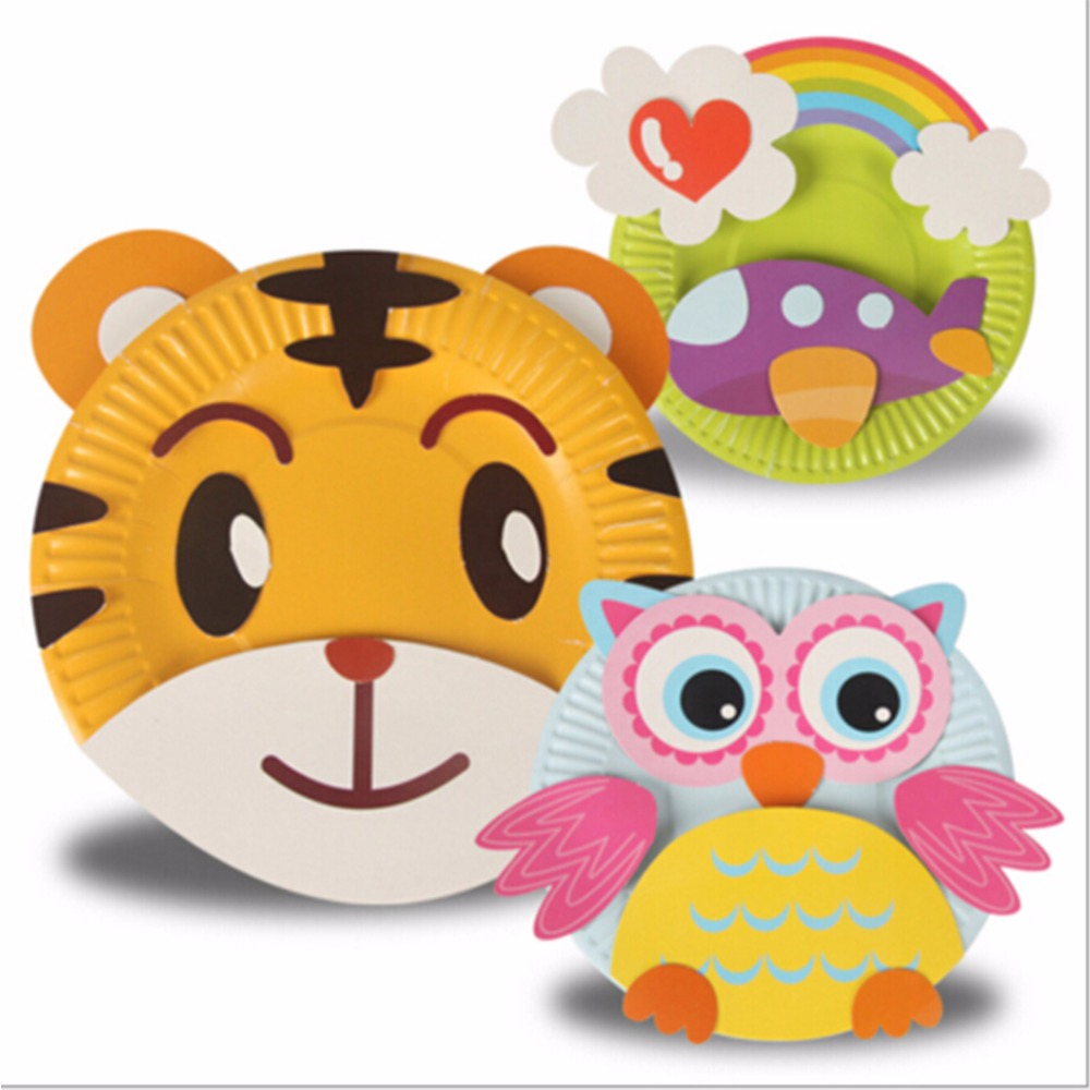 Paper plate animal crafts - Colorful Cute Paper Plate Handmade Craft Kits Toys Creat Draw Sticker For Kids Diy Educational Toys