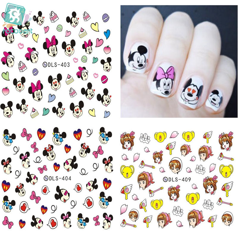 Rocooart DLS394-417 Small Water Foils Nail Art Sticker Nails Cartoon Harajuku Sailor moon Mouse Decals Minx Nail Decorations rocooart dls377 382 water foils nail art sticker fashion nails cartoon harajuku sailor moon decals minx nail decorations