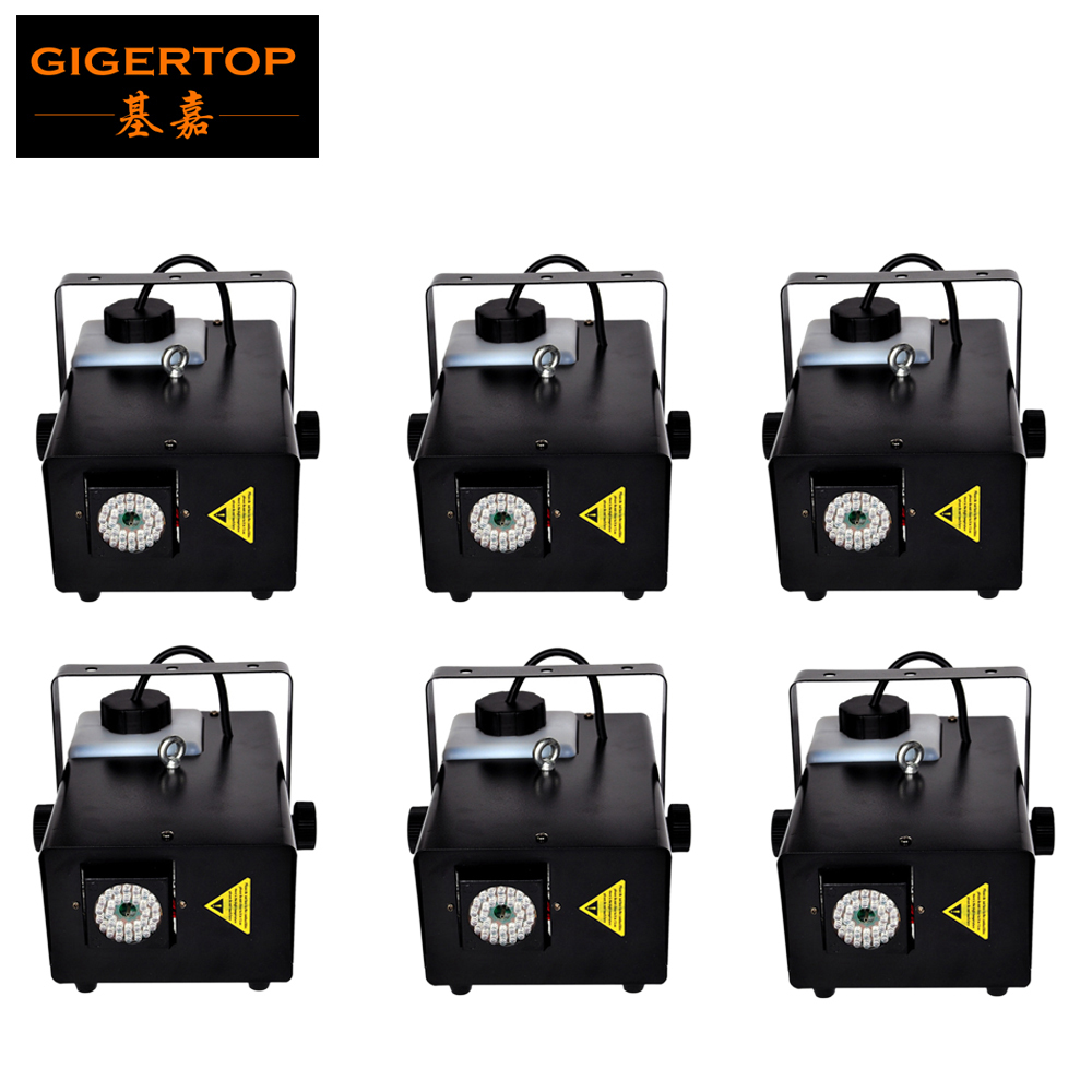 Stage Lighting Effect Tiptop 6pcs/lot Mini Led Fog Machine Wireless Remote Power On/off Control 900w Led Colorful Gas Jet Machine 110v-240v Smoke Dj