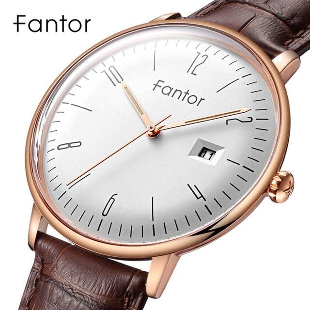 Fantor Men's Simple Casual Watches Date Quartz Leather Strap Curved Men Wrist Watch Luminous Hand Waterproof Dress Brand Watch