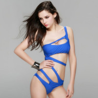 Sexy Swimsuit Women One Piece Suits Black Backless Monokini Thong One Piece Swimwear Female Bandage Swimsuit