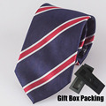 TOP Luxury Men's 100% SILK tie in gift box Stylish striped necktie navy blue with red stripes