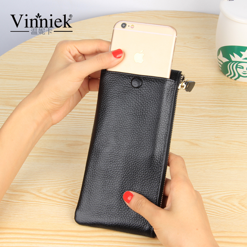 Vinniek Wallet Women Luxury Brand 2017 Silver Genuine Leather Women Wallets Long Purse Card Holder Cell
