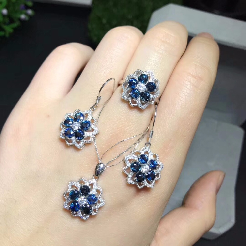 Natural sapphire suit, latest style, ring stud earrings, 925 silver, good gemstones, natural gemstonesNatural sapphire suit, latest style, ring stud earrings, 925 silver, good gemstones, natural gemstones