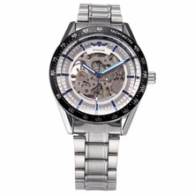 WINNER Brand Watch Casual Mens Automatic Silver White Skeleton Steampunk Stainless Steel Band Mechanical Watches Relojes /PMW290