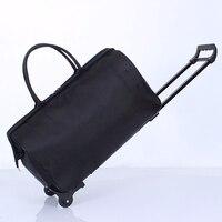الذكور حقيبة يد حقيبة سفر الأمتعة قدرة كبيرة الصعود حقيبة عجلات عربة المحمولة الرجال سحب قضيب الأزياء لليلة أكياس