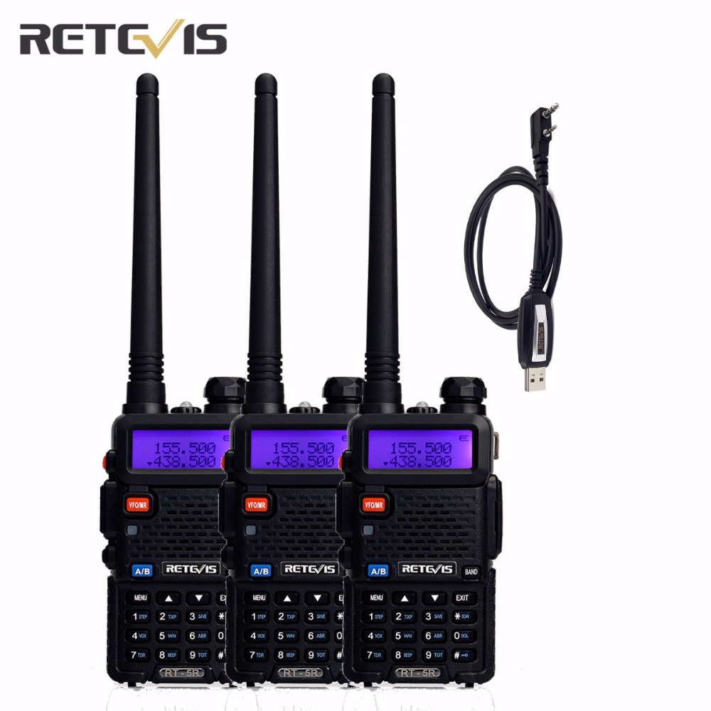 3 pcs Retevis RT-5R Talkie Walkie 5 w Double Bande VHF/UHF Ham Radio Bidirectionnelle CTCSS/DCS portable Amateur Émetteur-Récepteur Radio + UN Câble