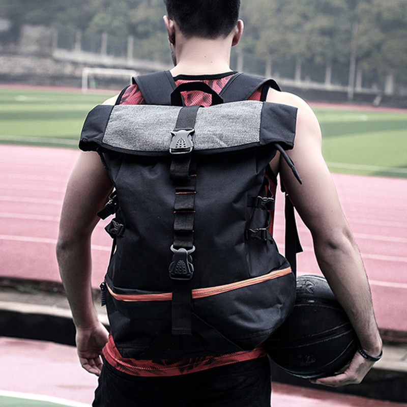 Outdoor Sport Backpack Men Large Capacity Basketball Backpack Rugby Hiking Double Shoulder Bag Laptop Rucksack Training Pack
