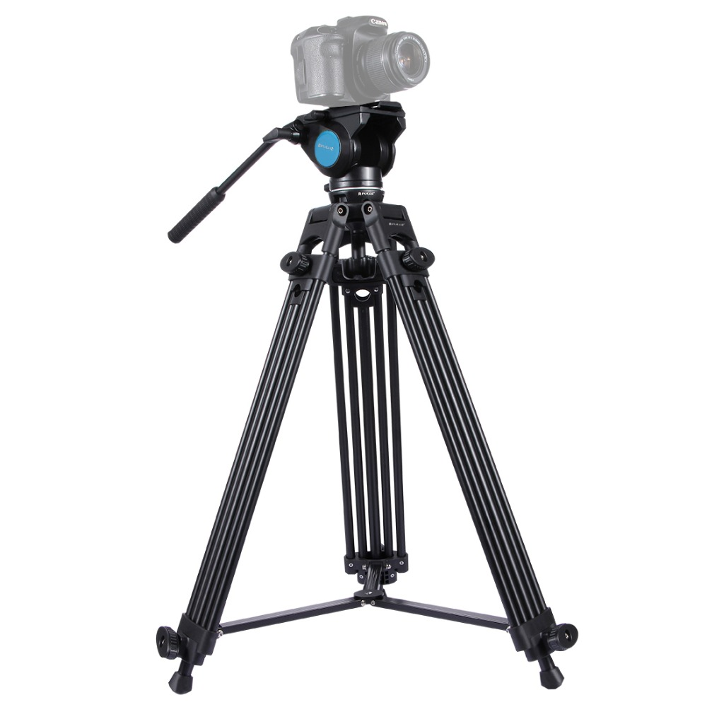 PULUZ Heavy Duty Video Camcorder Aluminum Alloy Tripod with Fluid Drag tripod Head for Canon Sony Nikon DSLR SLR Camera q13721 sinno a 2322 portable aluminum alloy tripod kit 3 section with ball head loading 10kg for slr dslr camera camcorder