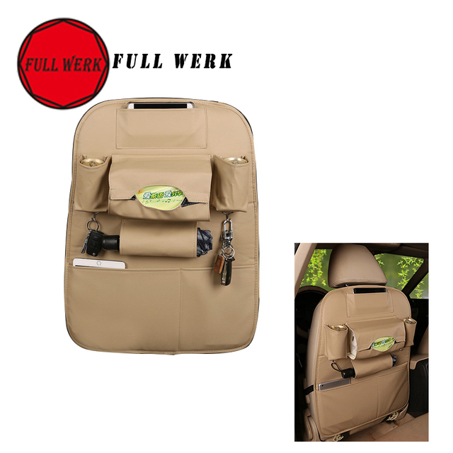Car Seat Back Organizer Buggy PU Leather Bag for Food Drink Phone