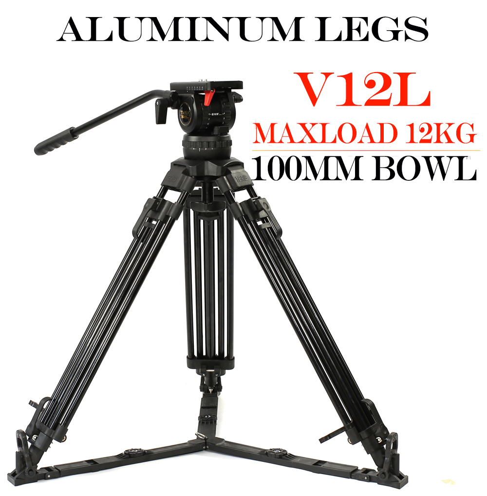 TERIS V12L Aliuminum 100mm Bowl DSLR Video Camera Tripod