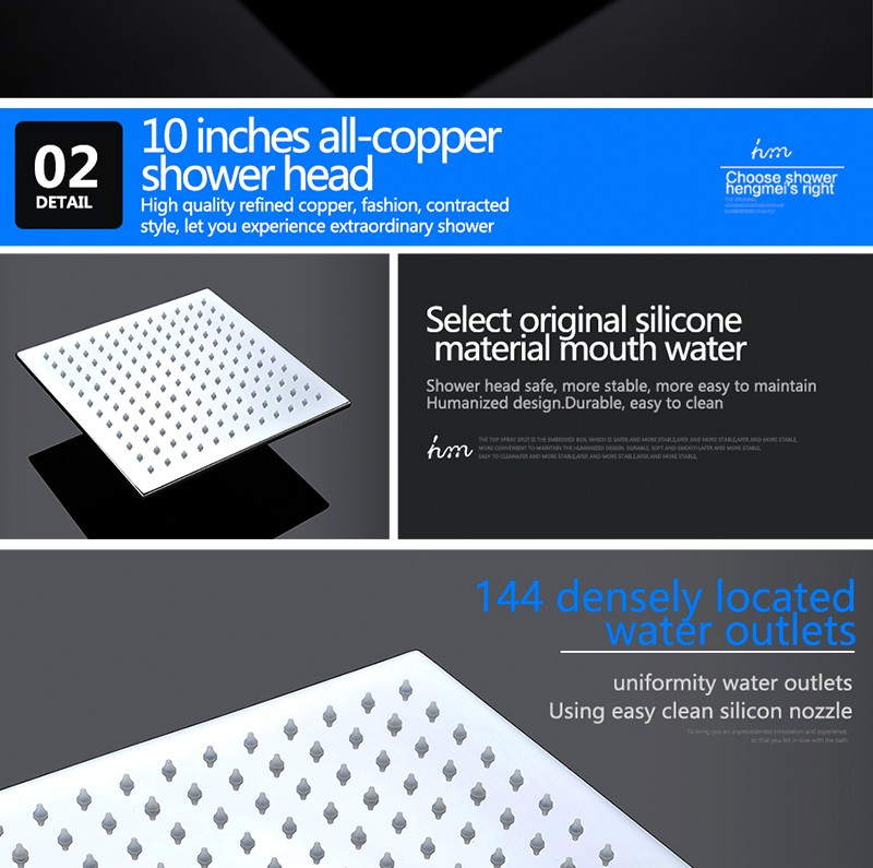 LED Shower Mixer Set Thermostat Faucet Shower Shower Head Powered by Water Square Saving Water Chromed Spout (20)