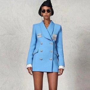 Image 2 - גבוהה באיכות הכי חדש אופנה 2018 מעצב בלייזר נשים של טור כפתורים כפול קריסטל יהלומים כפתורים בלייזר מעיל