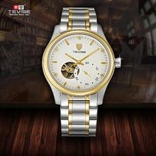 Top Brand Reloj de Los Hombres TEVISE Reloj Mecánico Automático Reloj de Acero A Prueba de agua de Lujo Masculino Nombre Logo Reloj Relogio masculino reloj
