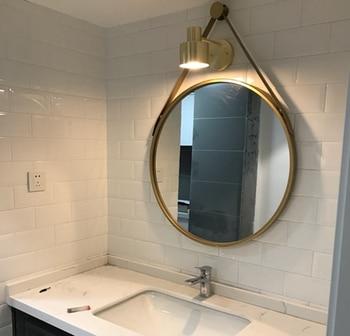 Железное Настенное подвесное круглое зеркало, креативное зеркало для ванной, простое модное украшение для ванной комнаты, туалетное зеркал... >> DT bag Store